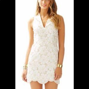 Lilly Pulitzer Estella Gold sand dollar dress 10